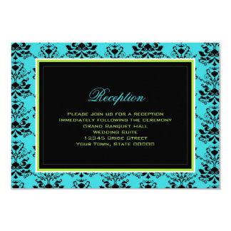 Turquoise Black Damask Green Accent Reception Card