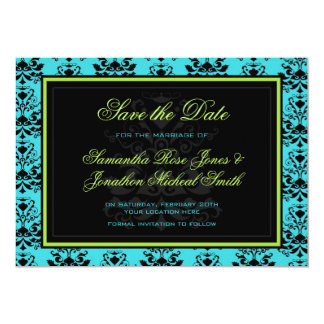 Turquoise Black Damask Green Accent Save the Date Card