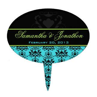 Turquoise & Black Damask Green Wedding Cake Topper