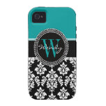 Turquoise, Black Damask Initial Name iPhone 4/4S Covers