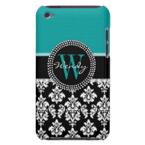 Turquoise, Black Damask Pattern Initial Name Barely There iPod Case