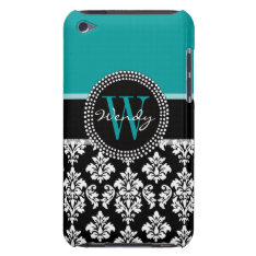 Turquoise, Black Damask Pattern Initial Name Barely There Ipod Case at Zazzle