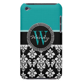 Turquoise, Black Damask Pattern Initial Name iPod Touch Cover