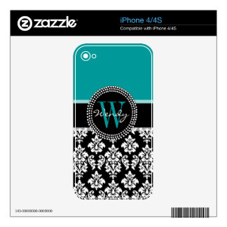 Turquoise, Black Damask Pattern Initial Name iPhone 4 Decal