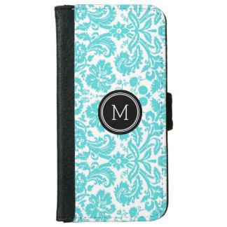 Turquoise Black Damask Pattern Monogram iPhone 6 Wallet Case