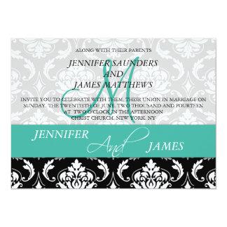 Turquoise Black Damask Wedding Invitation Monogram