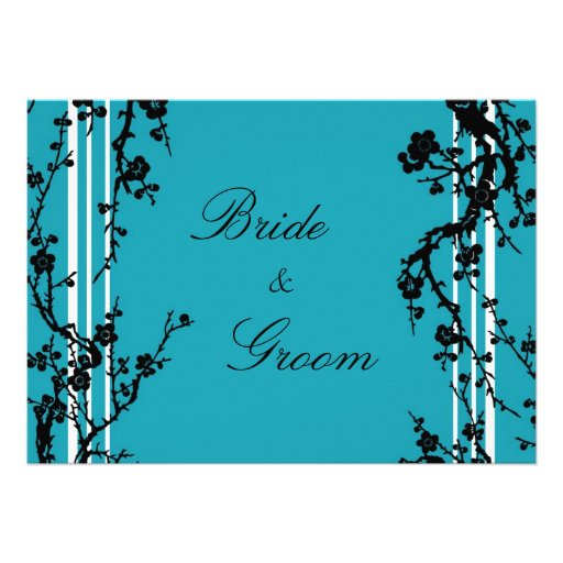 Turquoise Black Floral Wedding Invitation Card