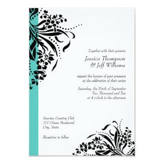 "Turquoise & Black Flourish Wedding Invitations 5"" X 7"" Invitation Card"