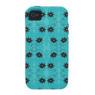 Turquoise Black Flower pattern iPhone 4/4S Covers