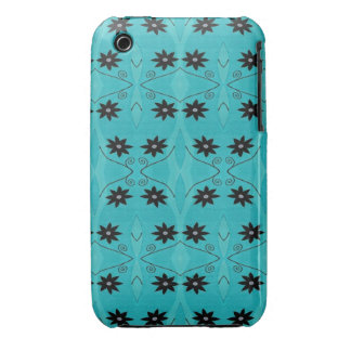 Turquoise Black Flower pattern Case-Mate iPhone 3 Cases
