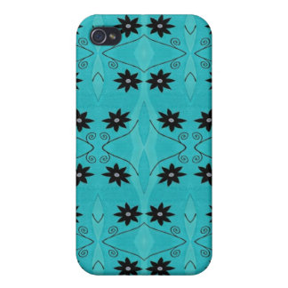 Turquoise Black Flower pern iPhone 4/4S Cases