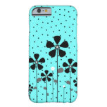 Turquoise & Black Flowers Barely There iPhone 6 Case