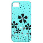 Turquoise & Black Flowers iPhone 5 Covers