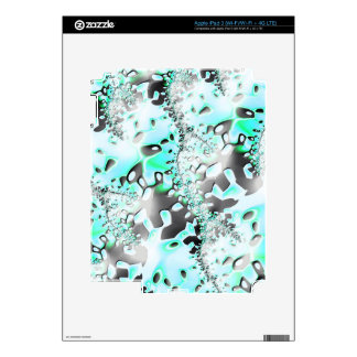 Turquoise Black Fractal Decal For iPad 3