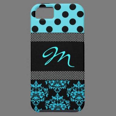 Turquoise & Black Girly Monogram iphone 5 Case