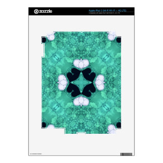 Turquoise Black Heart Abstract Skin For iPad 3