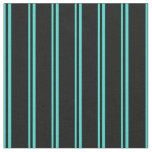 [ Thumbnail: Turquoise & Black Lines/Stripes Pattern Fabric ]