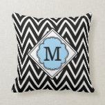 Turquoise & Black Monogram Chevron Pattern Pillow