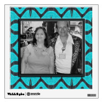 turquoise black pattern  photo frame wall decal