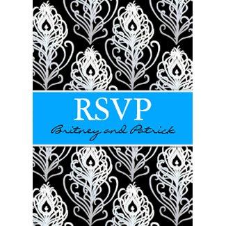 Turquoise Black Peacock Feather Wedding RSVP Cards zazzle_invitation