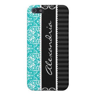 Turquoise Black Personalized Damask iPhone 4 Case
