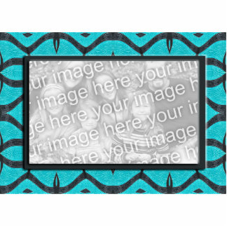 turquoise black photo frame statuette