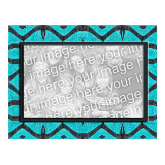 turquoise black photoframe postcard
