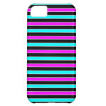 Turquoise Black Pink Stripes - iPhone 5 Case
