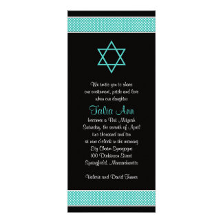 Turquoise Black Polka Dot Bat Mitzvah Invitation