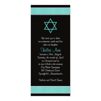 Turquoise Black Polka Dot Bat Mitzvah Invitation