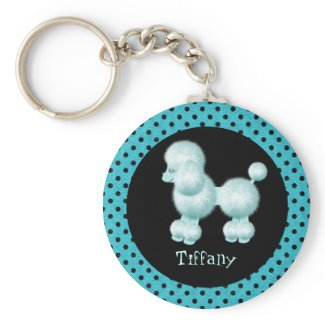 Turquoise & Black Poodle Key Chain
