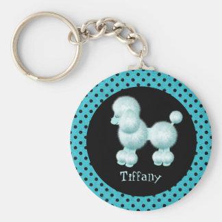 Turquoise & Black Poodle Key Chain