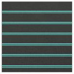[ Thumbnail: Turquoise & Black Stripes Pattern Fabric ]