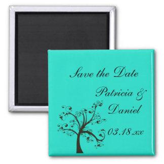 Turquoise & Black Stylized Tree Wedding 2 Inch Square Magnet