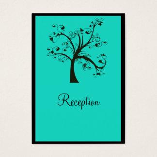 Turquoise & Black Stylized Tree Wedding Business Card