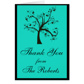 Turquoise & Black Stylized Tree Wedding Card