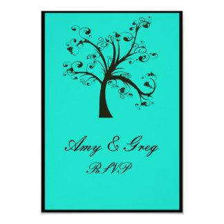 Turquoise & Black Stylized Tree Wedding Card