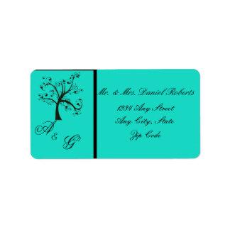 Turquoise & Black Stylized Tree Wedding Label