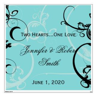 Turquoise Black Swirl Flourish Wedding Wall Cling Wall Decal