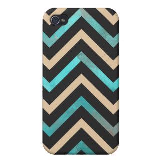 Turquoise Black Tan Chevron Case For iPhone 4