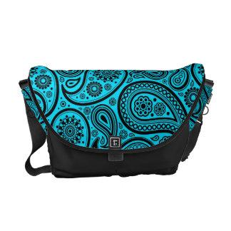 Turquoise & Black Vintage Paisley Pattern Courier Bag