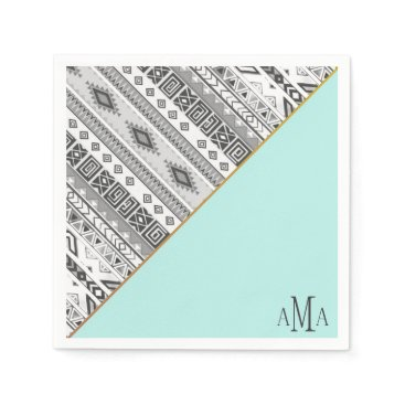 Aztec Themed Turquoise Black White Aztec Tribal Monogram Napkin
