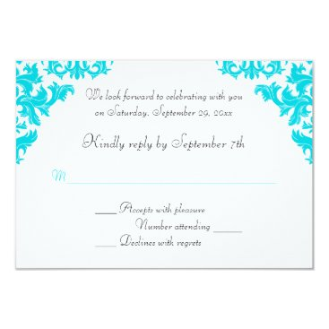 Turquoise, Black, White Damask RSVP Card