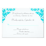 Turquoise, Black, White Damask RSVP Card Personalized Invitations