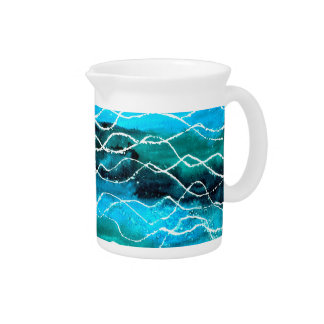 Turquoise, Black, White 'Waves'  Pitcher or Jug
