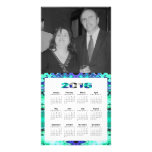 Turquoise blue 2016 yearly calendar card