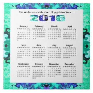 Turquoise blue 2016 yearly calendar ceramic tile