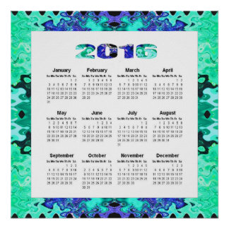 Turquoise Blue 2016 yearly calendar Poster