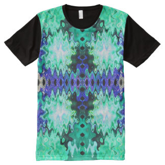 Turquoise Blue Abstract All-Over-Print T-Shirt