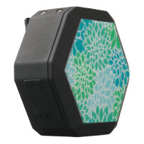 Turquoise Blue Abstract Flowers Black Bluetooth Speaker